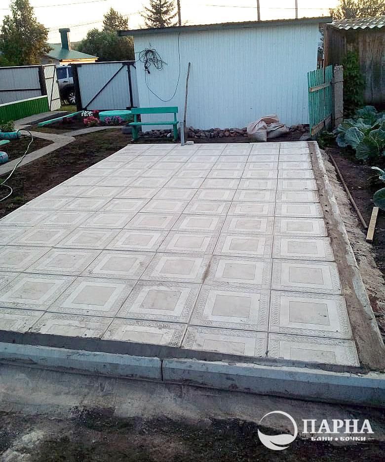Фундамент для бани бочки из тротуарной плитки